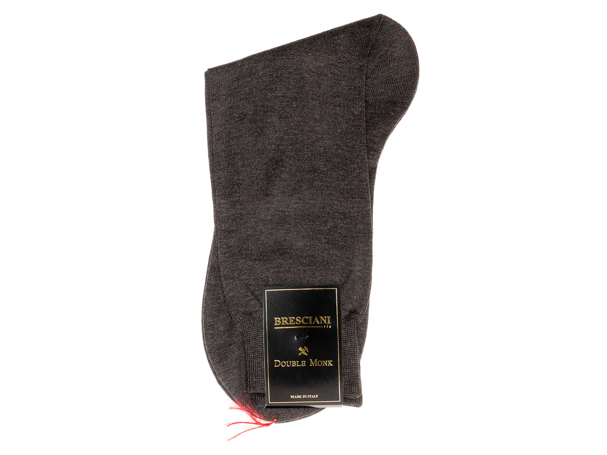 Calf Length Cotton Socks Plain Grey