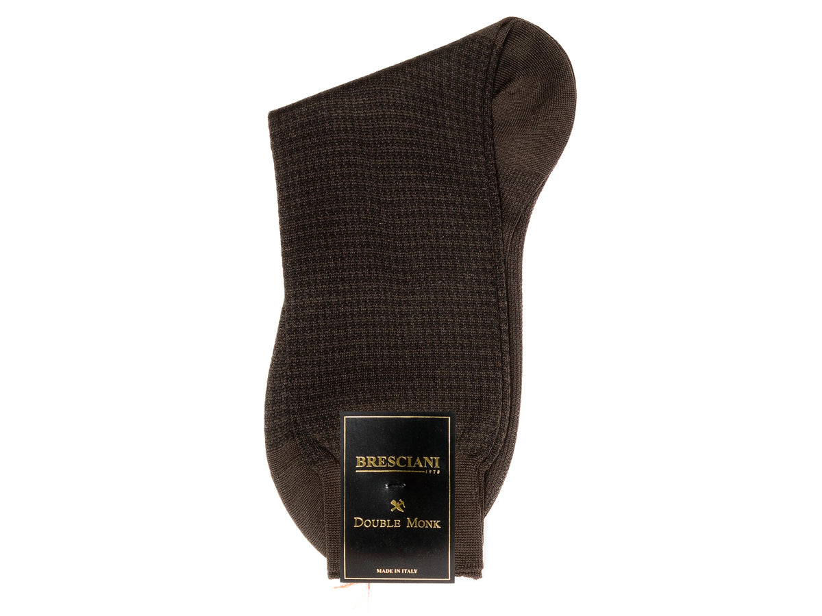Calf Length Cotton Socks Brown & Black Dogstooth