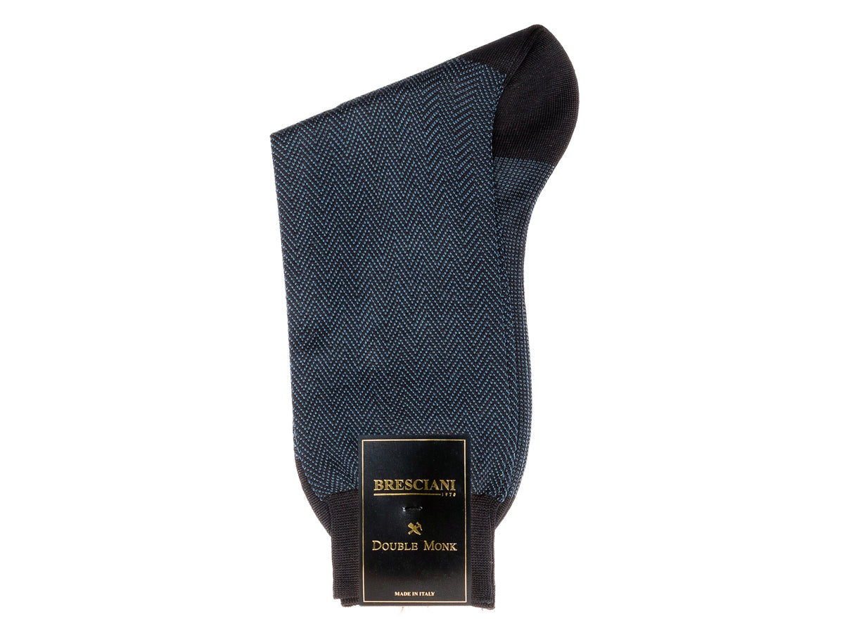 Calf Length Cotton Socks Dark Blue Herringbone