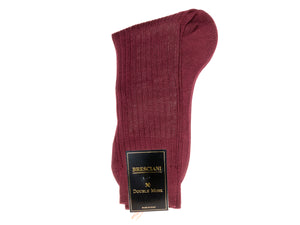 Calf Length Cotton Socks Burgundy