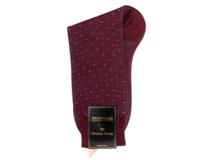 Calf Length Cotton Socks Burgundy with Blue Spots