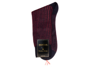 Calf Length Cotton Socks Navy & Red Contrast Ribbed