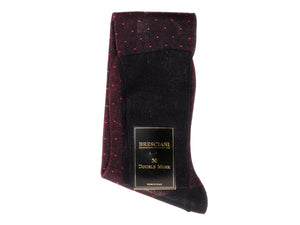 Knee Length Cotton Socks Navy with Red Spots