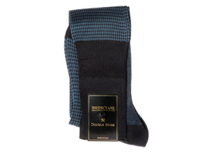 Knee Length Cotton Socks Navy & Blue Dogstooth