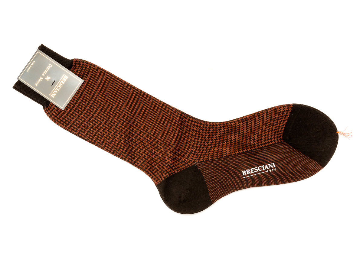 Calf Length Cotton Socks Brown & Tan Dogstooth
