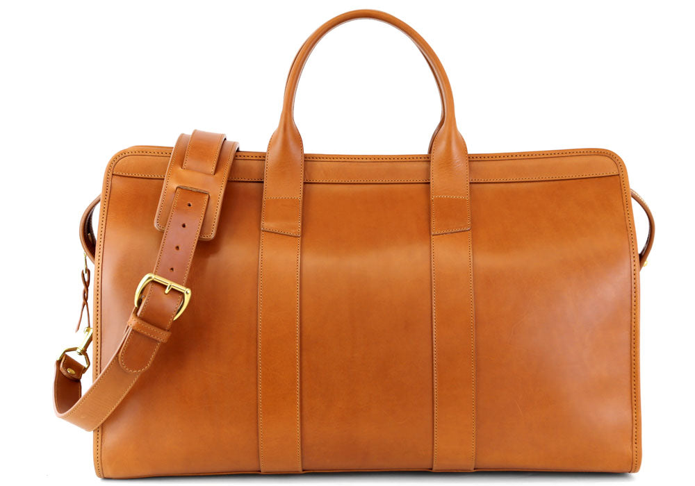 Signature Travel Duffle Lined Tan Harness Belting Leather