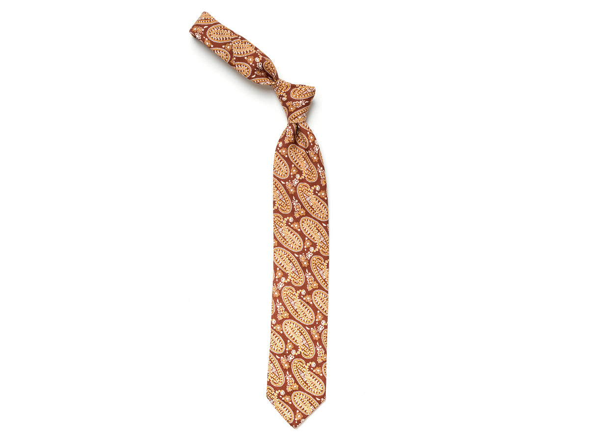 Linen Tie Large Paisley Brown