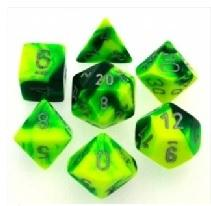 Gemini 7-Die Set Green-YelloWithSilver