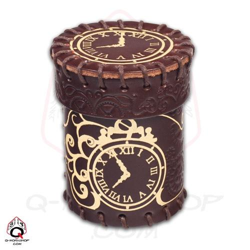 Leather Dice Cup: Steampunk Brown With Gold