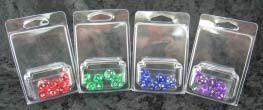 Translucent Mini-Polyhedral Green With White 7-Die Set