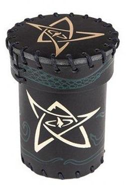 Leather Dice Cup: Black-Green With Gold Elder Sign