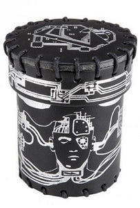 Leather Dice Cup: Cyberpunk Black With Silver