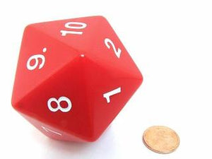 Opaque D20 34mm Red With White Single