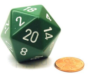 Opaque D20 34mm Green With White Single