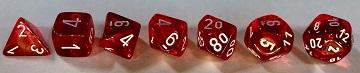 Translucent 7-Die Set Red With White - New Version