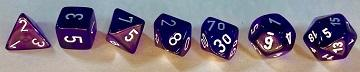 Translucent 7-Die Set Purple With White - New Version