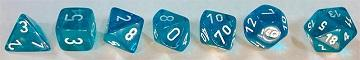 Translucent 7-Die Set Teal With White - New Version