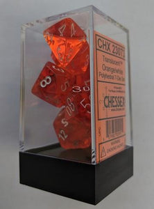 Translucent 7-Die Set Orange With White