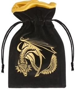 Q-Workshop Dice Bag - Dragon Black Golden Velor