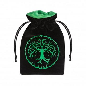 Q-Workshop Dice Bag - Forest Black With Green Velour