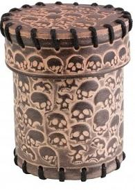 Leather Dice Cup: Skull Beige
