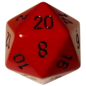 Opaque D20 34mm Red With Black Single