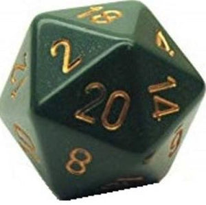 Opaque D20 34mm Dusty Green With Copper Single