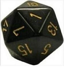 Opaque D20 34mm Black With Gold Single
