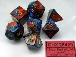Gemini 7-Die Set Blue-Red With Gold
