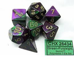 Gemini 7-Die Set Green-Purple With Gold