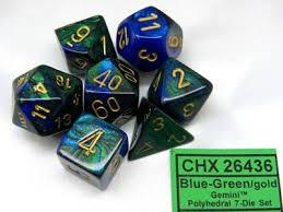 Gemini 7-Die Set Blue-Green With Gold