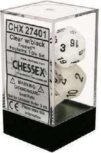 Frosted 7-Die Set Clear With Black