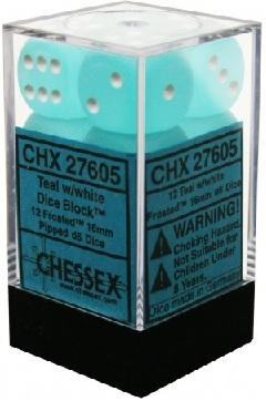 Frosted 12d6 Teal With White 16mm