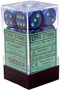 Lustrous 12d6 Dark Blue With Green 16mm
