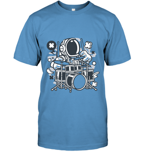 Astronaut Drummer Cartoon T-Shirt - Bekker Clothing