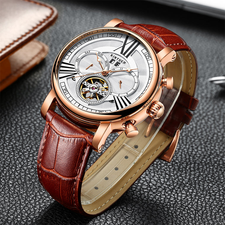 "Luxury Men Automatic Mechanical Watch by KINYUED ""Waterproof"""