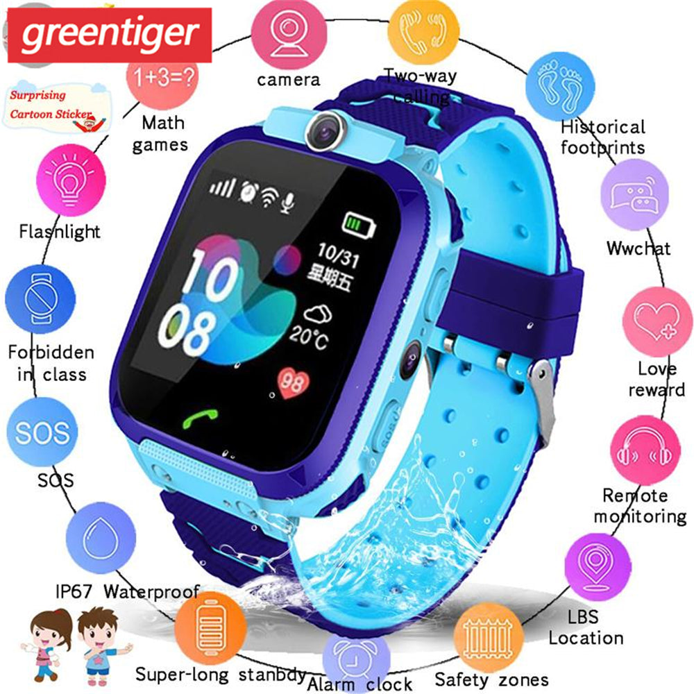 Waterproof Kids Smart Watch SOS Anti-lost Smartwatch Baby 2G SIM Card Clock Call Location Tracker