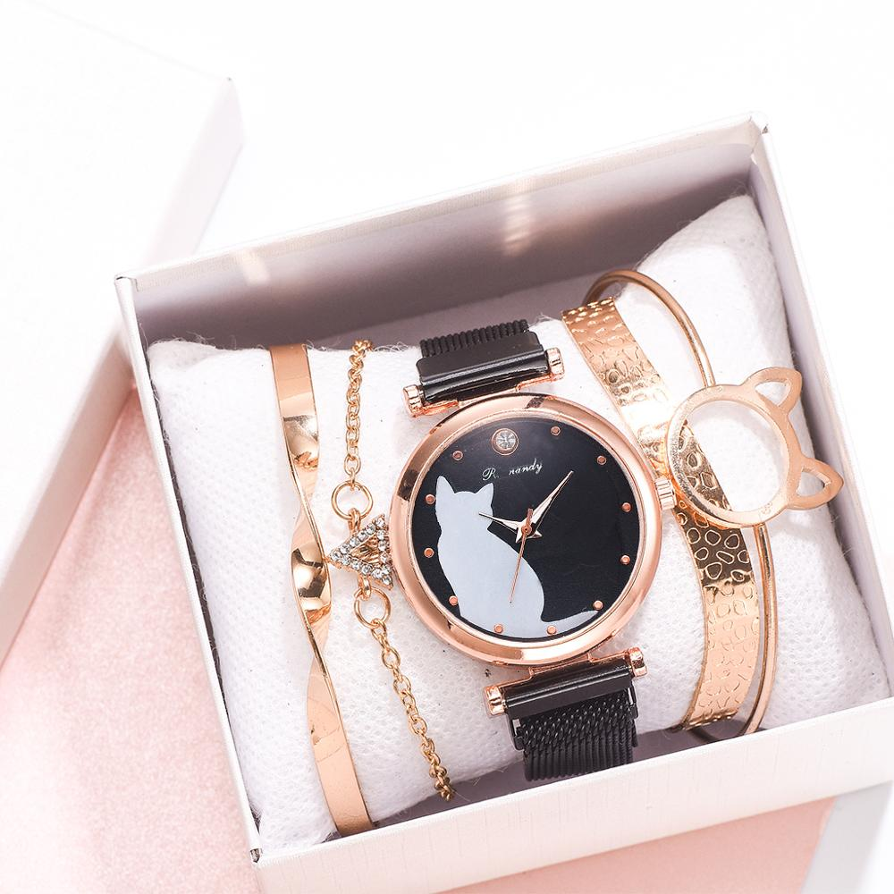 Ladies Watches & Bracelet Set Cat Pattern Luxury Clock 5pcs/set