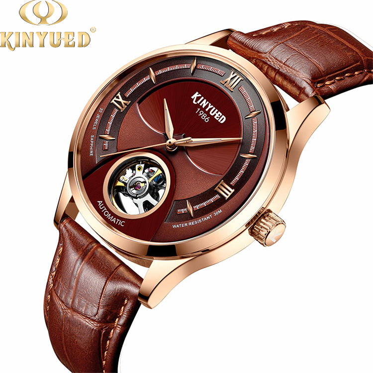KINYUED genuine leather tourbillon mens automatic watch skeleton mechanical