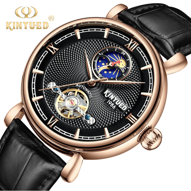 Kinyued Simple Mens Clock All Stainless Steel Business Male WristWatch Automatic Mechanical Watch
