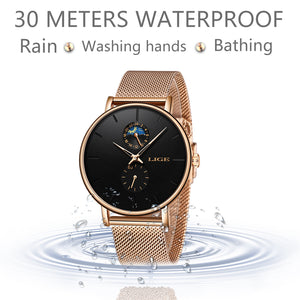 LIGE Womens WatchTop Brand Luxury Waterproof / Ladies Stainless Steel Ultra-Thin Casual