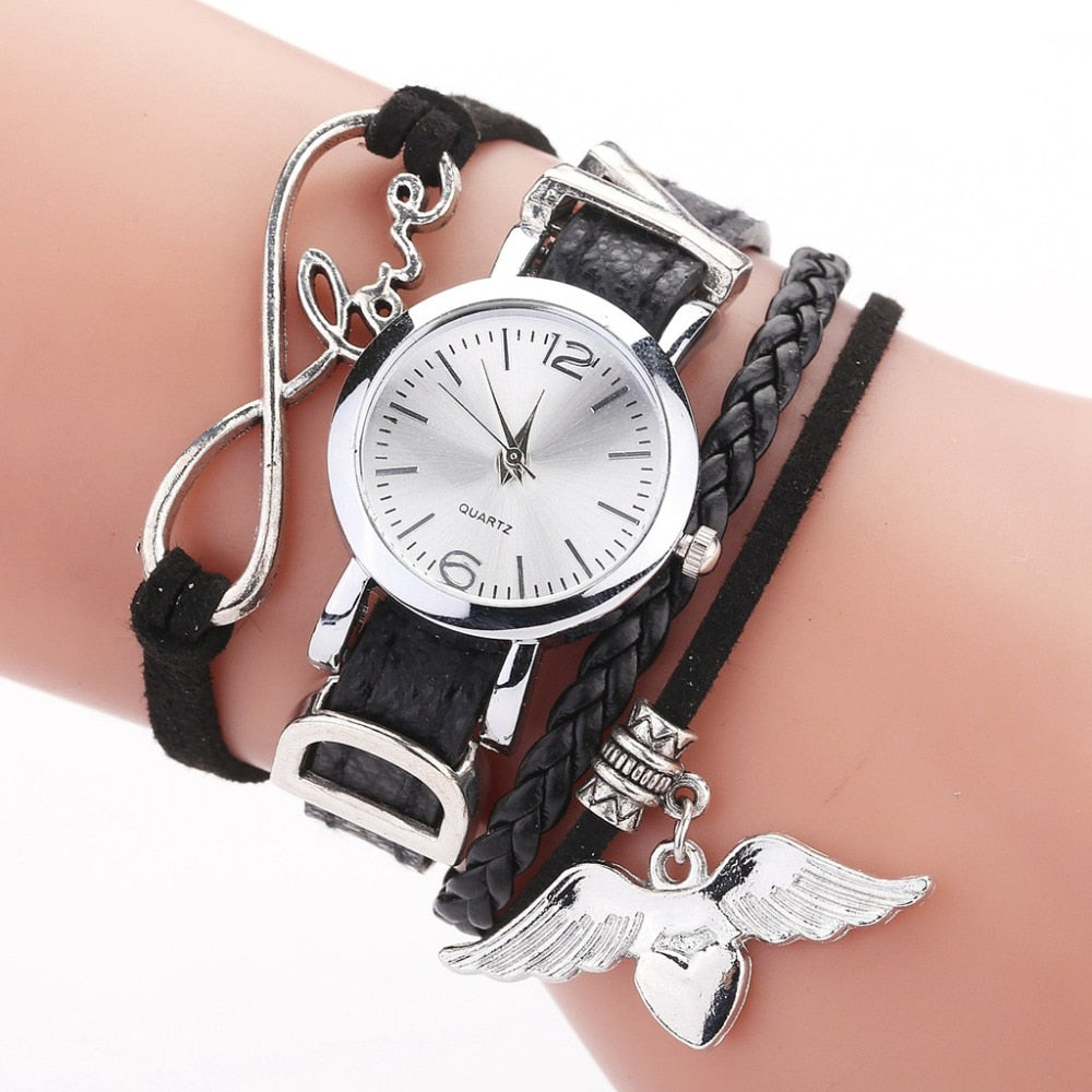 Duoya Watches For Women Luxury Silver with Leather Belt