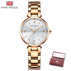 MINI FOUCS Women Watches Waterproof Stainless Steel