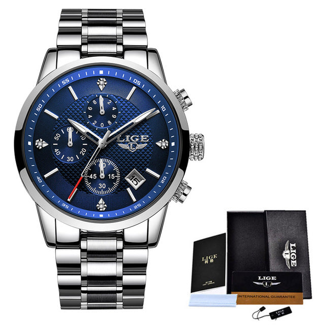 2020 LIGE Men Watches Top Luxury Brand Sport Chronograph Waterproof