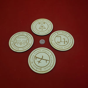 Set of 4 elemental Daemon quarter markers