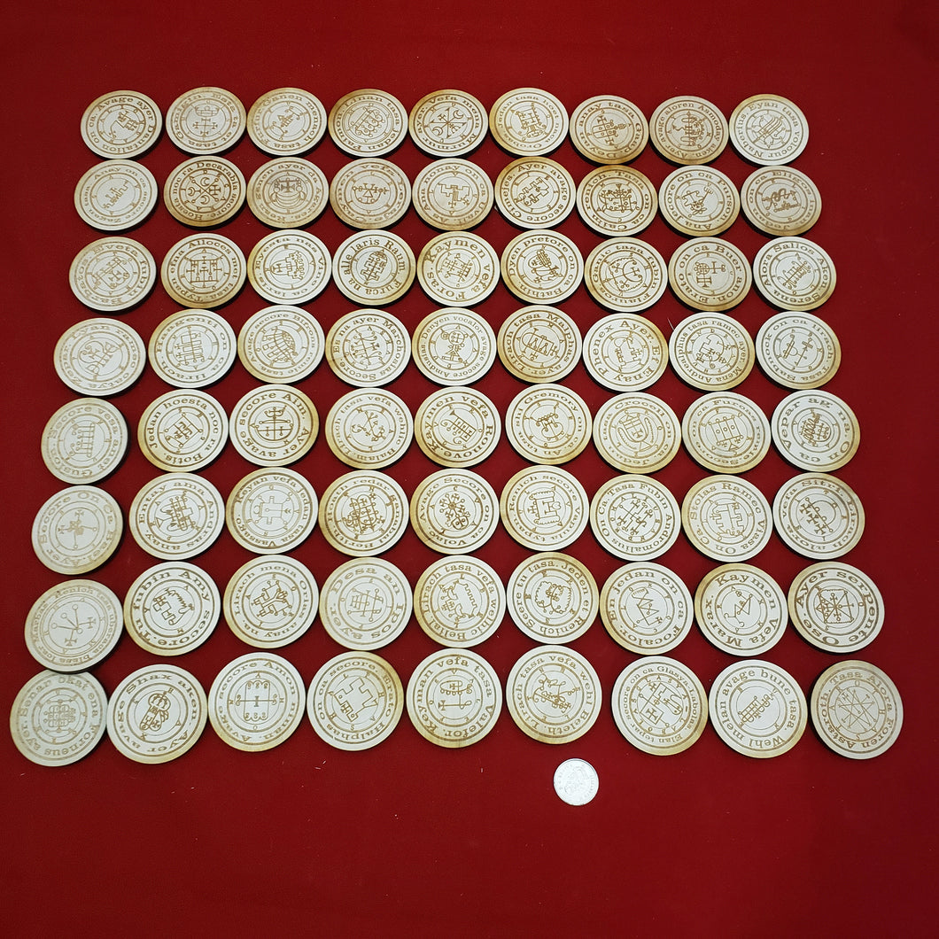 Full set of 72 goetia seals with enns