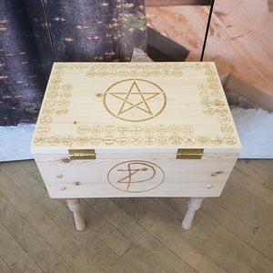 Pine altar table w/ 72 goetia and ZD sigil
