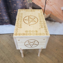 Load image into Gallery viewer, Pine altar table w/ 72 goetia and ZD sigil