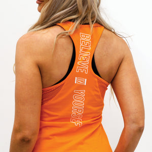 Derrimut 24:7 Gym Ladies Racer Singlet - Orange