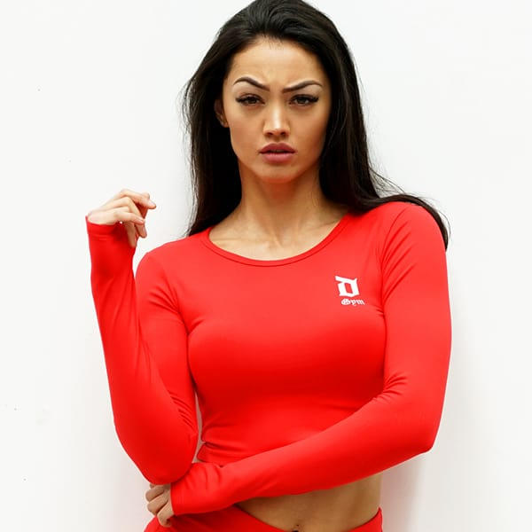 Derrimut 24:7 Gym Ladies Basic Long Sleeve Crop - Red